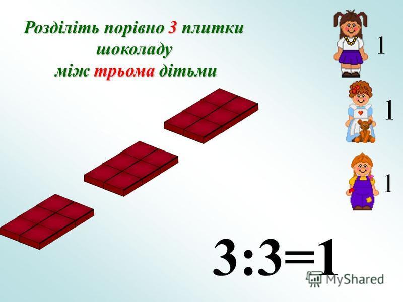Розділіть порівно 3 плитки шоколаду між трьома дітьми між трьома дітьми 3:3=1