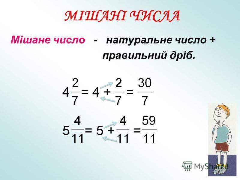 Мішане число - натуральне число + правильний дріб. 4 = 4 + = 5 = 5 + = МІШАНІ ЧИСЛА