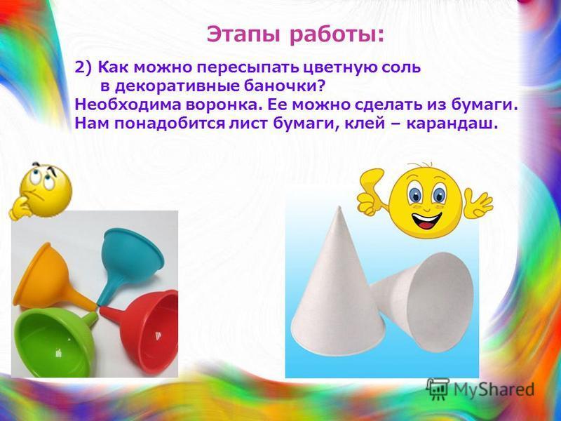 Этапы работы: 2) Как можно пересыпать цветную соль в декоративные баночки? Необходима воронка. Ее можно сделать из бумаги. Нам понадобится лист бумаги, клей – карандаш.