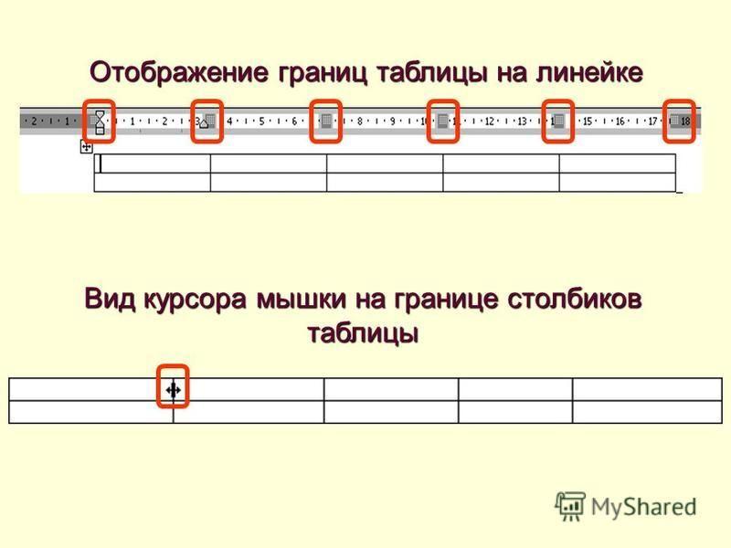 Отображение границ таблицы на линейке Вид курсора мышки на границе столбиков таблицы