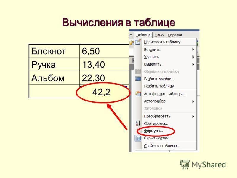 =SUM(ABOVE) Вычисления в таблице Блокнот 6,50 Ручка 13,40 Альбом 22,30 42,2