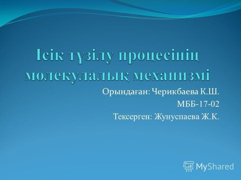 Орында ғ ан: Черикбаева К.Ш. МББ- 17-02 Тексерген: Жунуспаева Ж.К.