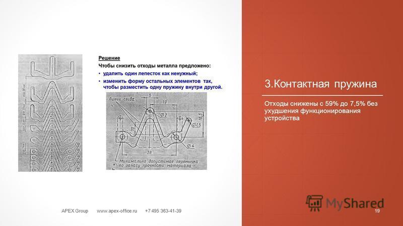 3. Контактная пружина Отходы снижены с 59% до 7,5% без ухудшения функционирования устройства APEX Group www.apex-office.ru +7 495 363-41-3919
