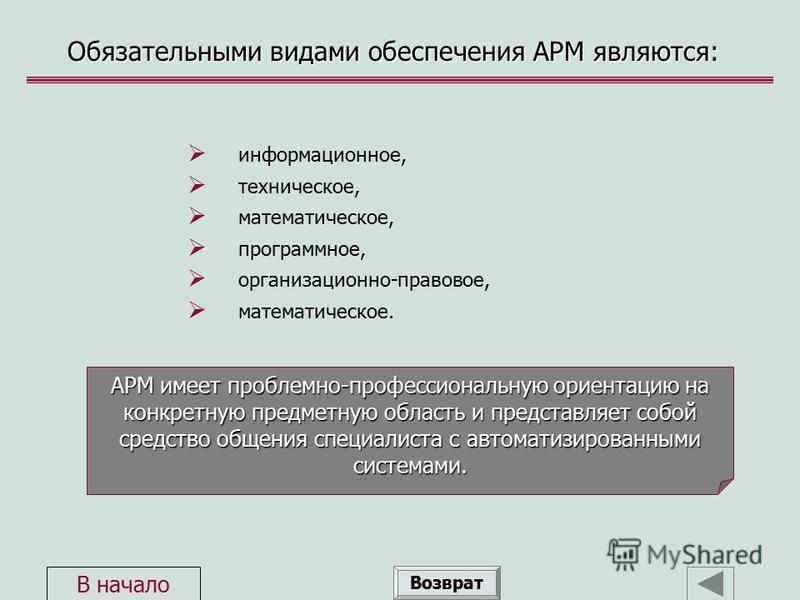 Обязательными видами обеспечения АРМ являются: информационное, техническое, математическое, программное, организационно-правовое, математическое. Возврат АРМ имеет проблемно-профессиональную ориентацию на конкретную предметную область и представляет