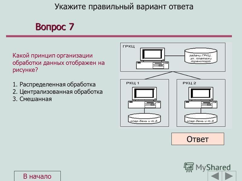 Укажите правильный вариант ответа Вопрос 7 Какой принцип организации обработки данных отображен на рисунке? 1. Распределенная обработка 2. Централизованная обработка 3. Смешанная Ответ В начало