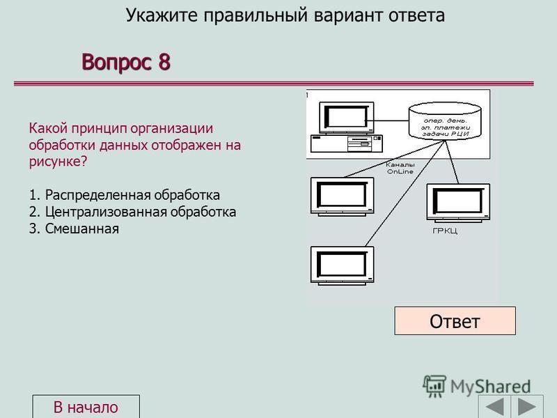 Укажите правильный вариант ответа Вопрос 8 Какой принцип организации обработки данных отображен на рисунке? 1. Распределенная обработка 2. Централизованная обработка 3. Смешанная Ответ В начало