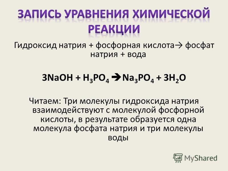 Гидроксид натрия + фосфорная кислота фосфат натрия + вода 3NaOH + H 3 PO 4 Na 3 PO 4 + 3H 2 O Читаем: Три молекулы гидроксида натрия взаимодействуют с молекулой фосфорной кислоты, в результате образуется одна молекула фосфата натрия и три молекулы во