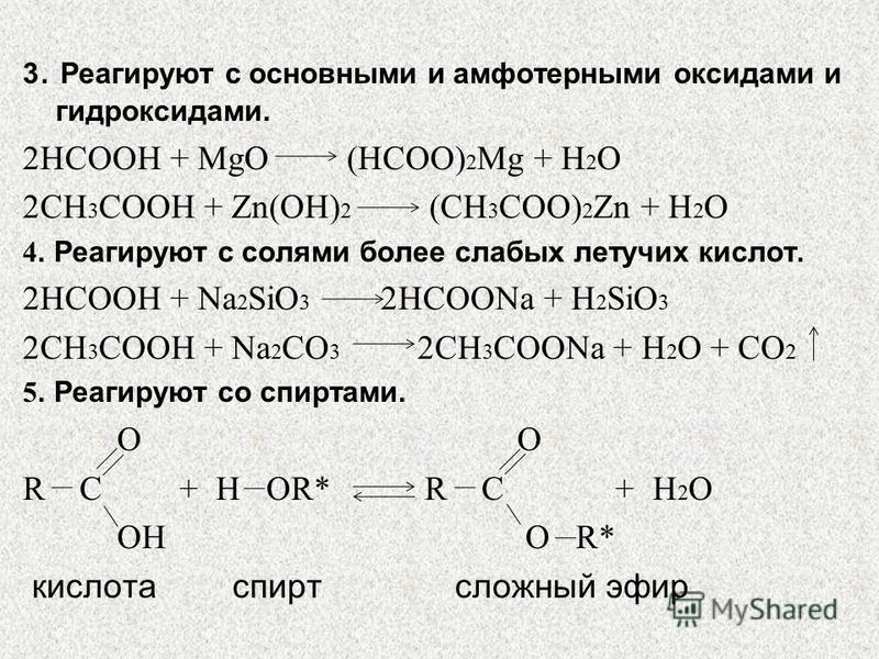 3. Реагируют с основными и амфотерными оксидами и гидроксидами. 2HCOOH + MgO (HCOO) 2 Mg + H 2 O 2CH 3 COOH + Zn(OH) 2 (CH 3 COO) 2 Zn + H 2 O 4. Реагируют с солями более слабых летучих кислот. 2HCOOH + Na 2 SiO 3 2HCOONa + H 2 SiO 3 2CH 3 COOH + Na