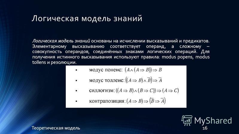 Логическая модель знаний 16Теоретическая модель Логическая модель знаний основаны на исчислении высказываний и предикатов. Элементарному высказыванию соответствует операнд, а сложному – совокупность операндов, соединённых знаками логических операций.