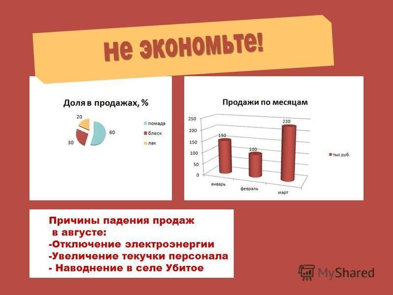 Причины падения продаж в августе: -Отключение электроэнергии -Увеличение текучки персонала - Наводнение в селе Убитое Не экономьте!