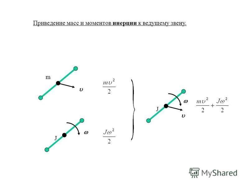 Приведение масс и моментов инерции к ведущему звену. m JJ