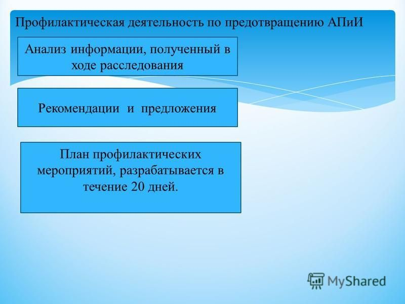 Профилактическая деятельность по предотвращению АПиИ Анализ информации, полученный в ходе расследования Рекомендации и предложения План профилактических мероприятий, разрабатывается в течение 20 дней.