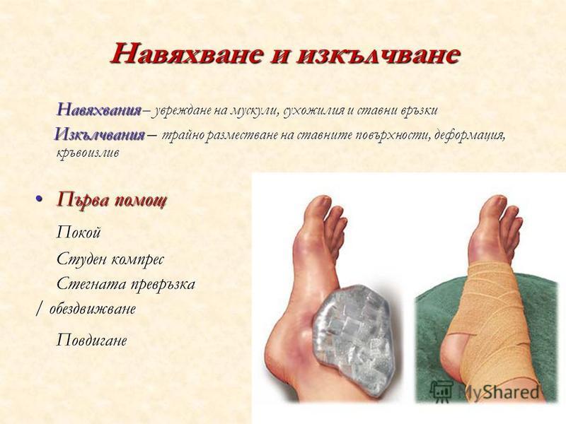 Навяхване и изкълчване Навяхвания – увреждане на мускули, сухожилия и ставни връзки Изкълчвания – трайно разместване на ставните повърхности, деформация, кръвоизлив Изкълчвания – трайно разместване на ставните повърхности, деформация, кръвоизлив Първ