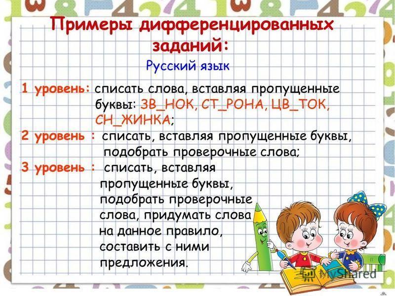 Примеры дифференцированных заданий: Русский язык 1 уровень: списать слова, вставляя пропущенные буквы: ЗВ_НОК, СТ_РОНА, ЦВ_ТОК, СН_ЖИНКА; 2 уровень : списать, вставляя пропущенные буквы, подобрать проверочные слова; 3 уровень : списать, вставляя проп