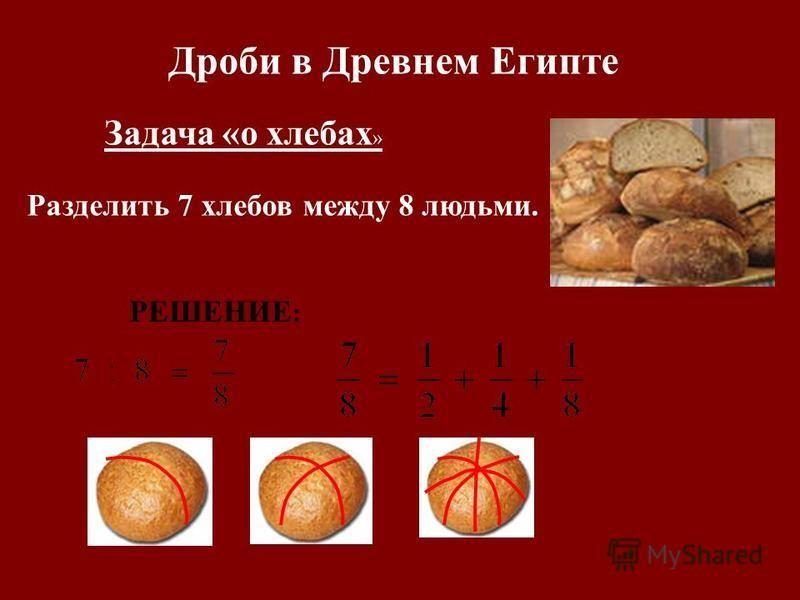 Дроби в Древнем Египте Задача « о хлебах » Разделить 7 хлебов между 8 людьми. РЕШЕНИЕ :