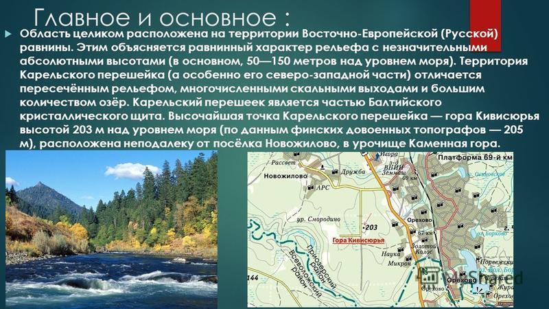 Главное и основное : Область целиком расположена на территории Восточно-Европейской (Русской) равнины. Этим объясняется равнинный характер рельефа с незначительными абсолютными высотами (в основном, 50150 метров над уровнем моря). Территория Карельск