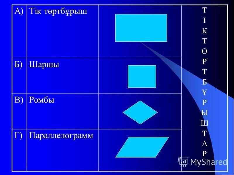 А)Тік төртбұрыш ТІКТӨРТБҰРЫШТАРТІКТӨРТБҰРЫШТАР Б)Шаршы В)Ромбы Г)Параллелограмм