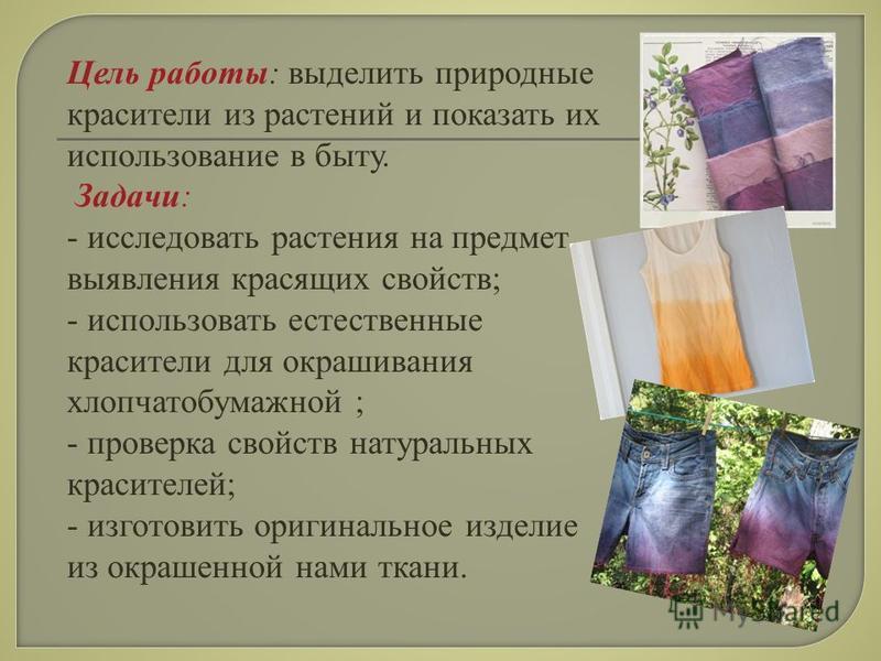 Цель работы: выделить природные красители из растений и показать их использование в быту. Задачи: - исследовать растения на предмет выявления красящих свойств; - использовать естественные красители для окрашивания хлопчатобумажной ; - проверка свойст