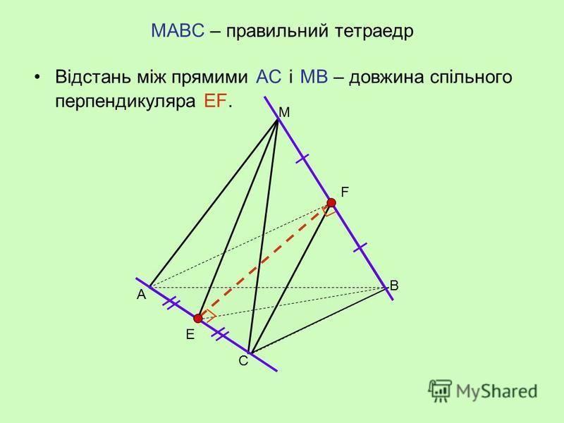 АВСDА 1 В 1 С 1 D 1 – прямокутний паралелепіпед Відстань між прямими АВ і В 1 С 1 – довжина спільного перпендикуляра ВВ 1. А ВС D D1D1 А1А1 В1В1 С1С1