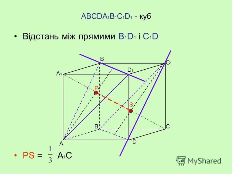 АВСDА 1 В 1 С 1 D 1 - куб Відстань між прямими В 1 D 1 і С 1 C – це довжина РС 1 А ВС D D1D1 А1А1 В1В1 С1С1 Р C1C1