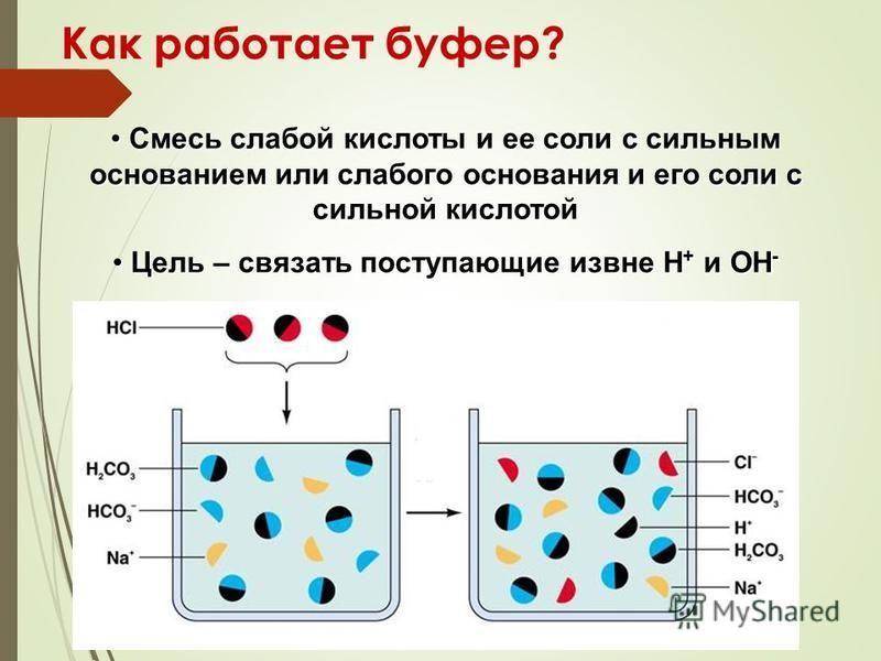 Как работает буфер? Смесь слабой кислоты и ее соли с сильным основанием или слабого основания и его соли с сильной кислотой Смесь слабой кислоты и ее соли с сильным основанием или слабого основания и его соли с сильной кислотой Цель – связать поступа