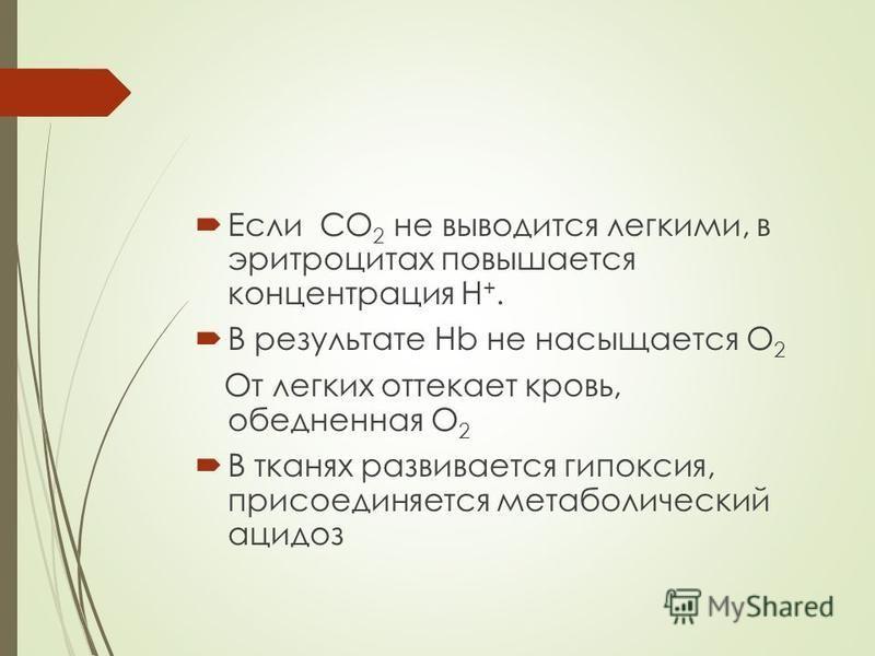 Если СО 2 не выводится легкими, в эритроцитах повышается концентрация Н +. В результате Нb не насыщается О 2 От легких оттекает кровь, обедненная О 2 В тканях развивается гипоксия, присоединяется метаболический ацидоз