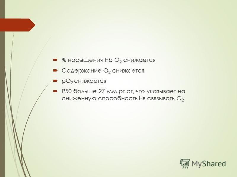 % насыщения Hb О 2 снижается Содержание О 2 снижается рО 2 снижается Р50 больше 27 мм рт ст, что указывает на сниженную способность Нв связывать О 2