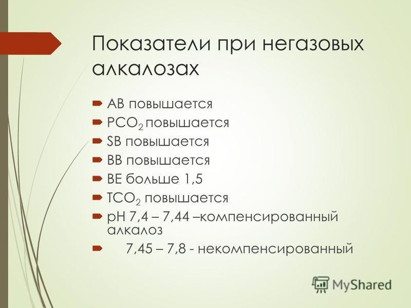 Показатели при негазовых алкалозах АВ повышается РСО 2 повышается SB повышается ВВ повышается ВЕ больше 1,5 ТСО 2 повышается рН 7,4 – 7,44 –компенсированный алкалоз 7,45 – 7,8 - некомпенсированный