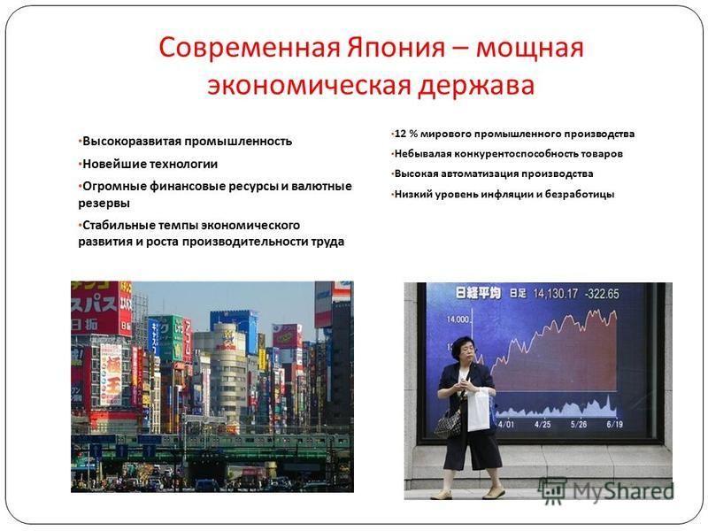Современная Япония – мощная экономическая держава Высокоразвитая промышленность Новейшие технологии Огромные финансовые ресурсы и валютные резервы Стабильные темпы экономического развития и роста производительности труда 12 % мирового промышленного п