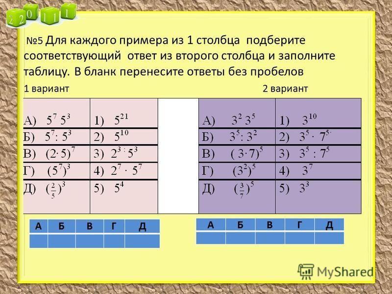 5 Для каждого примера из 1 столбца подберите соответствующий ответ из второго столбца и заполните таблицу. В бланк перенесите ответы без пробелов 1 вариант 2 вариант АБВГД АБВГД