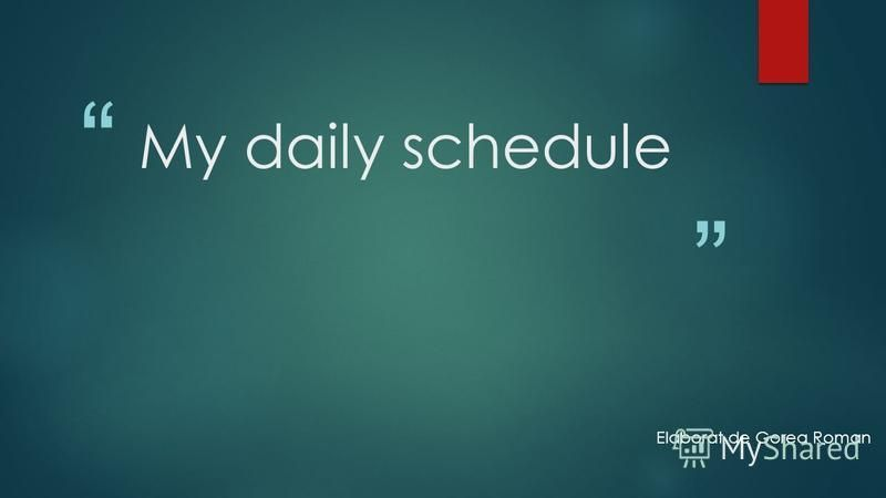 My daily schedule Elaborat de Gorea Roman