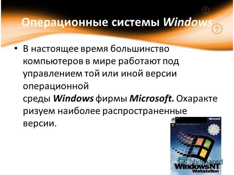 Операционные системы Windows В настоящее время большинство компьютеров в мире работают под управлением той или иной версии операционной среды Windows фирмы Microsoft. Охаракте рисуем наиболее распространенные версии.