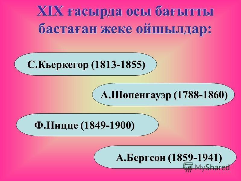 XIX ғасырда осы бағытты бастаған жеке ойшылдар: С.Кьеркегор (1813-1855) А.Шопенгауэр (1788-1860) Ф.Ницце (1849-1900) А.Бергсон (1859-1941)