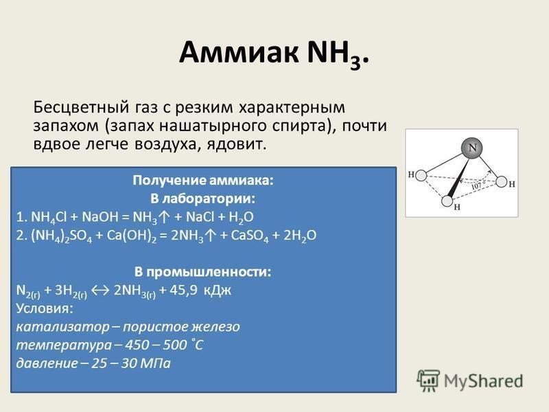 Аммиак NH 3. Бесцветный газ с резким характерным запахом (запах нашатырного спирта), почти вдвое легче воздуха, ядовит. Получение аммиака: В лаборатории: 1. NH 4 Cl + NaOH = NH 3 + NaCl + H 2 O 2. (NH 4 ) 2 SO 4 + Ca(OH) 2 = 2NH 3 + CaSO 4 + 2H 2 O В