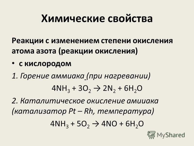 Химические свойства Реакции с изменением степени окисления атома азота (реакции окисления) с кислородом 1. Горение аммиака (при нагревании) 4NH 3 + 3O 2 2N 2 + 6H 2 O 2. Каталитическое окисление аммиака (катализатор Pt – Rh, температура) 4NH 3 + 5O 2