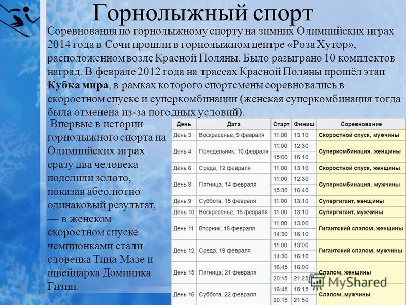 Горнолыжный спорт Соревнования по горнолыжному спорту на зимних Олимпийских играх 2014 года в Сочи прошли в горнолыжном центре «Роза Хутор», расположенном возле Красной Поляны. Было разыграно 10 комплектов наград. В феврале 2012 года на трассах Красн