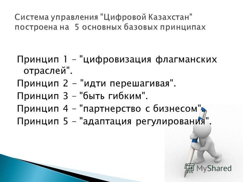 Принцип 1 – цифровизация флагманских отраслей. Принцип 2 - идти перешагивая. Принцип 3 – быть гибким. Принцип 4 – партнерство с бизнесом. Принцип 5 – адаптация регулирования.