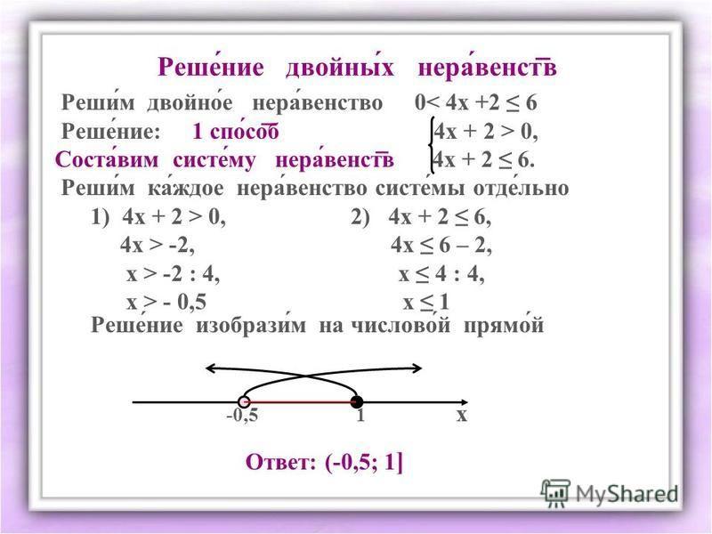 Решенее двойни́х нерва́венств Реши́м двойнойййййййй́е нерва́агентство 0< 4 х +2 6 Реше́нее: 1 спо́соб 4 х + 2 > 0, Соста́вим системммм́му нерва́венств 4 х + 2 6. Реши́м ка́ждое нерва́агентство системммм́мы отдел́льна 1) 4 х + 2 > 0, 2) 4 х + 2 6, 4 х