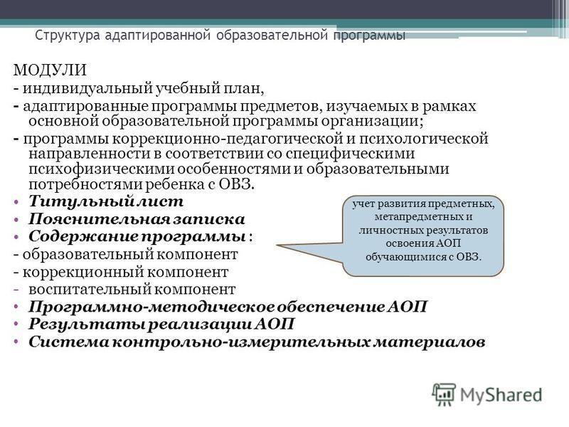 Структура адаптированной образовательной программы МОДУЛИ - индивидуальный учебный план, - адаптированные программы предметов, изучаемых в рамках основной образовательной программы организации; - программы коррекционно-педагогической и психологическо