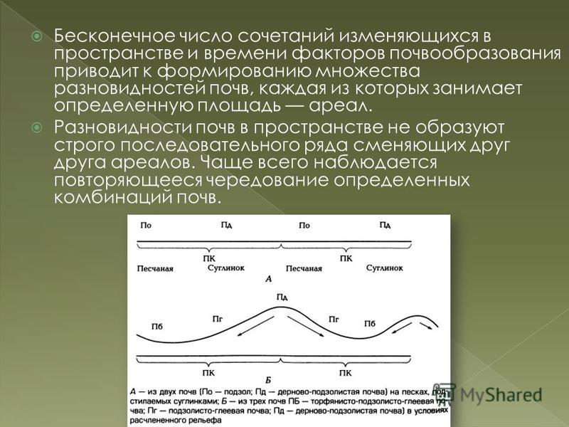 Бесконечное число сочетаний изменяющихся в пространстве и времени факторов почвообразования приводит к формированию множества разновидностей почв, каждая из которых занимает определенную площадь ареал. Разновидности почв в пространстве не образуют ст