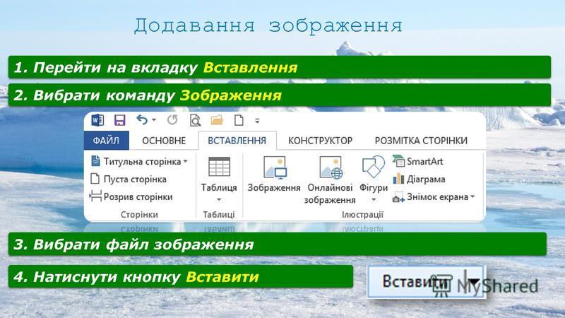 Вставлення графічних обєктів у текст здійснюється за допомогою команд Стрічки Вставлення. Доповнення текстів зображеннями