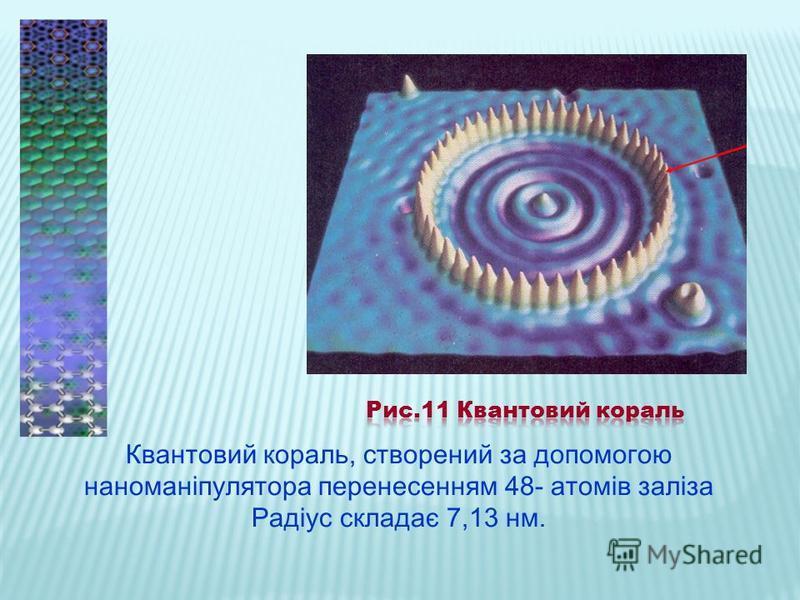 Квантовий кораль, створений за допомогою наноманіпулятора перенесенням 48- атомів заліза Радіус складає 7,13 нм.