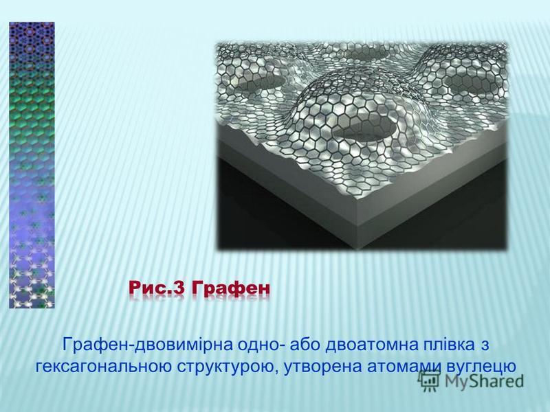 Графен-двовимірна одно- або двоатомна плівка з гексагональною структурою, утворена атомами вуглецю