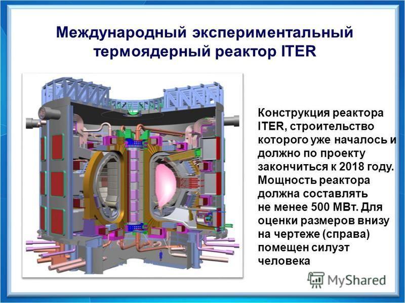Международный экспериментальный термоядерный реактор ITER Конструкция реактора ITER, строительство которого уже началось и должно по проекту закончиться к 2018 году. Мощность реактора должна составлять не менее 500 MВт. Для оценки размеров внизу на ч
