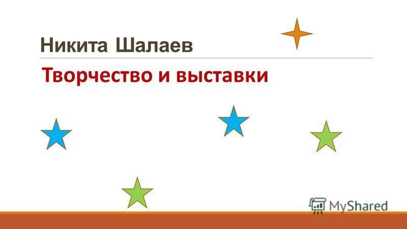 Никита Шалаев Творчество и выставки