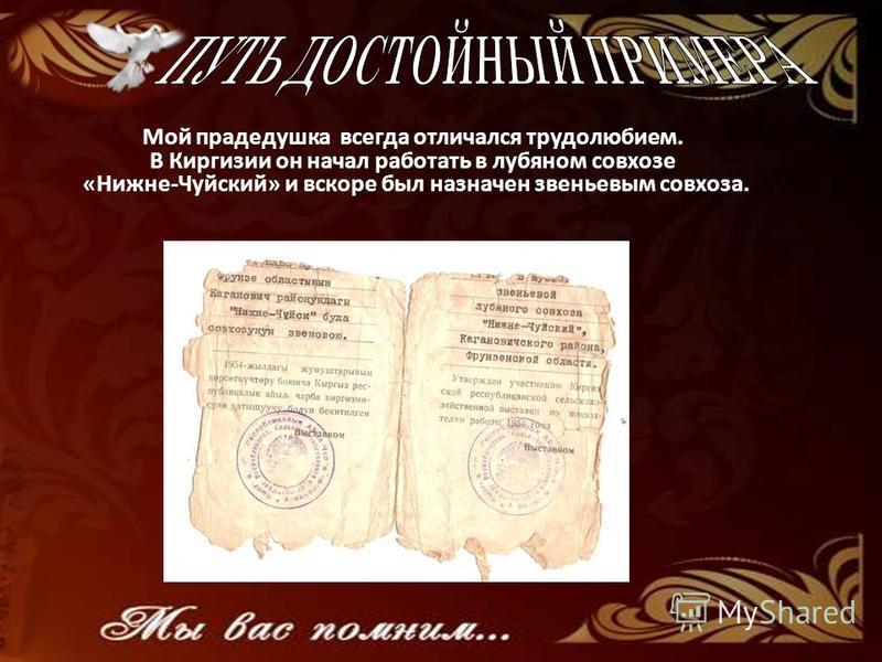 Мой прадедушка всегда отличался трудолюбием. В Киргизии он начал работать в лубяном совхозе «Нижне-Чуйский» и вскоре был назначен звеньевым совхоза.