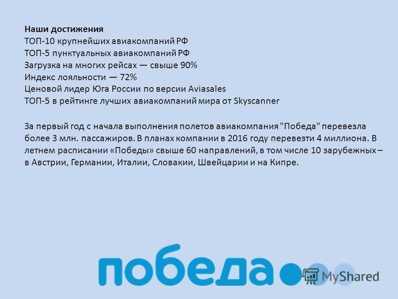 Наши достижения ТОП-10 крупнейших авиакомпаний РФ ТОП-5 пунктуальных авиакомпаний РФ Загрузка на многих рейсах свыше 90% Индекс лояльности 72% Ценовой лидер Юга России по версии Aviasales ТОП-5 в рейтинге лучших авиакомпаний мира от Skyscanner За пер