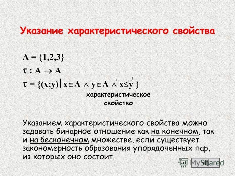 Указание характеристического свойства А = {1,2,3} : А А = {(x;y) x A y А x y } характеристическое свойство Указанием характеристического свойства можно задавать бинарное отношение как на конечном, так и на бесконечном множестве, если существует закон