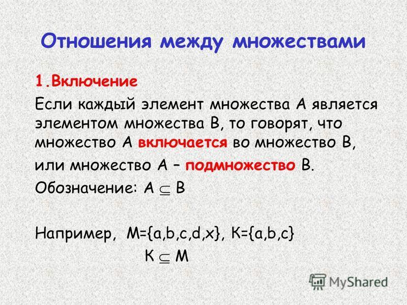 Отношения между множествами 1. Включение Если каждый элемент множества А является элементом множества В, то говорят, что множество А включается во множество В, или множество А – подмножество В. Обозначение: А В Например, M={a,b,c,d,x}, К={a,b,c} К М