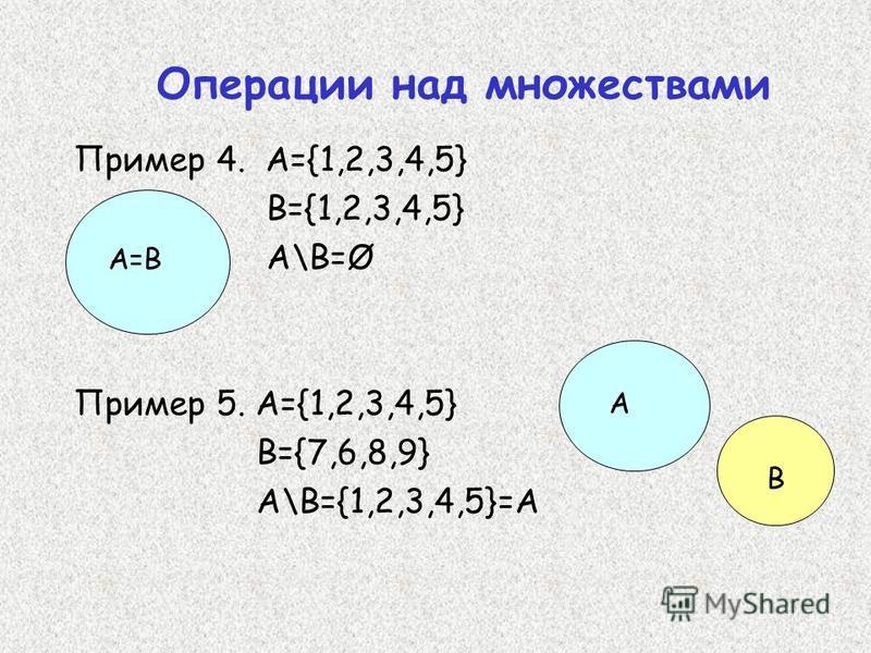 Пример 4. А={1,2,3,4,5} В={1,2,3,4,5} A\B=Ø Пример 5. A={1,2,3,4,5} B={7,6,8,9} A\B={1,2,3,4,5}=A A=B A B Операции над множествами